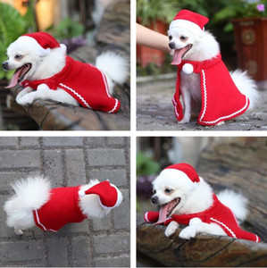 Hat Pet Natal urdidura Define Hat Pet Teddy Dog Cape Hat vestido Manto de Natal Pet vestido cheio Decor Natal Cape SuitDog Vestuário AHE2018