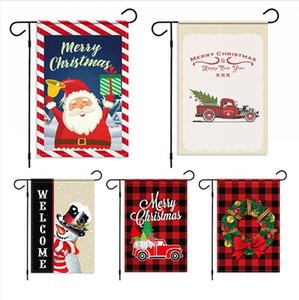 32*49cm 2020 Christmas Hanging Flag Santa Banner Merry Christmas Outdoor Ornament Xmas New Year Gift Home Party Garden Decoration LJJP712