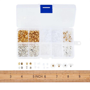 Jewelry Findings Sets, Ear Nuts Sets, Mixed Color, 3~5x2.5~6mm, Hole: 0.3~1mm; 740pcs box Jewelry qylxWz