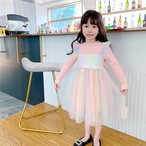 Tzkw multicolor lindo niños llevado vestido con luces estrella lentejuelas tutu falda puffy luminosa niña vestidos para el rendimiento del escenario y la fiesta 20pcs
