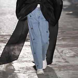 2020 Winter New Trend Women's High Waist Straight Leg Loose Mom Jeans Vintage Y2k Ladies Black Heart Print Boyfriend Pants