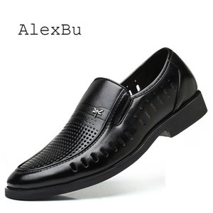 AlexBu Spring Summer New Men Genuine Leather Shoes Man Formal Dress Shoe Breathable Men's Shoes Casual Loafers Slip On Comfort