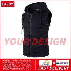 Новый DIY Графический Мужчины Жилет Мода персонализированный дизайн Печать Zipper Толстовки простой пользовательский Сплошной цвет Спорт куртки M19
