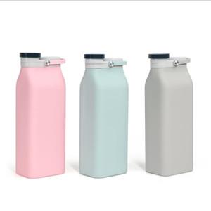 Складные бутылки воды Портативных бутылок складной молоки с крышкой Открытой силиконовых складной бутылкой воды Drop-резистентной Силиконовой бутылкой OWA311