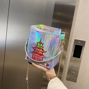Drucken Lustige Chinese Tower Box Frauen Schultertasche Designer-Handtaschen-Anhänger Umhängetasche Messenger Bag Dame Cute Laser kleine Geldbeutel C1016