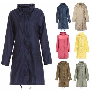 Largo impermeable mujeres hombres impermeable capucha capa lluvia ponchos chaqueta capa hembra chubasqueros impermeables mujer 201015