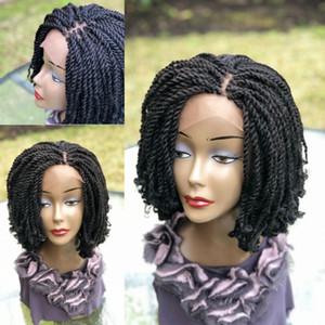 Nouvelle arrivée 14inch couleur noire courte perruque avant de dentelle tressée crépus perruque tressée pleine handtied avec des conseils pour les femmes bouclés afrique