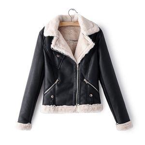 2021 Fashionable Lamb Wool Fur Coat Nice New Lady Leather Pocket Female Veneer Turn Down Collar Motorcycle Fancy FYRX