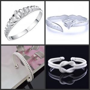 925 Sterling Silber Armreifen für Frauen Männer Öffnen Hand Schmuck Böhmische Mode Armband Chinesischen Stil Einstellbare Manschettenarmbänder 88 O2