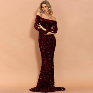 Sexy Off the Shoulder Long Sleeve Sequin Party Dress Evening Maxi Dress Women Bodycon Dress marry 011907