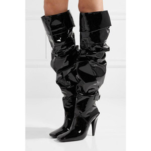 2020 Winter New Products Long Knee Helmet with patent leather square head buckle boots thigh boots sexy large size shoes