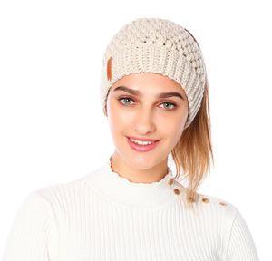 Knitted Ponytail Beanie Solid Adult Crochet Hat Winter Caps Women Skullies Beanies Warm Skullies Caps Ljjo7091 Qin79
