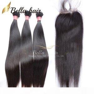 페루 헤어 묶음 버진 인간의 머리카락 확장 똑 바른 머리 짠 3pcs 폐쇄 무료 부품 자연 색 bellahair 8A