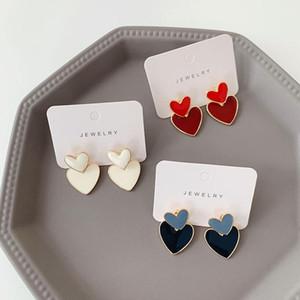 YANGLIUJIA Double Two Wear Earrings A Drip Love Heart-Shaped Earrings Temperament Contracted Fashion Female Jewelry Gifts