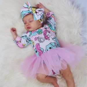 2020 Newborn Baby Girls Mesh Skirts Infant Spring Clothing Toddler Unicorn Long Sleeve Dresses Jumpsuit Romper Pullover Tops 70-100cm E21903