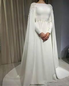 Elegant Long Sleeves Wedding Dresses with Wraps Applique Decoration Bride Formal Party Gowns A Line Satin Vestidos De Fiesta