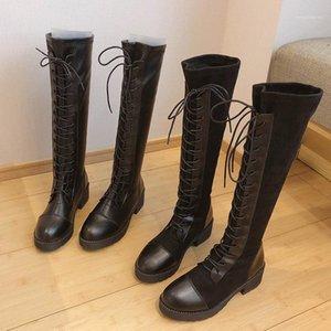 Matte LeatherFlock 레이스 업 승마 부츠 여성 신발 Chunky 하이힐 긴 튜브 오토바이 부츠 Stovepipe Knee-High Botas 20201