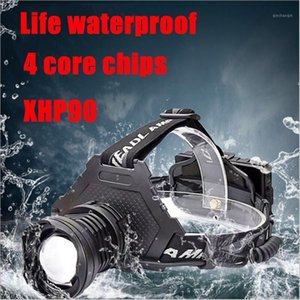 Lámpara de cabeza de faro LED Lámpara de cabeza Luz de antorcha XHP90 Bombillas 3 * 18650 Batería Litwod Zoom In / Out Lithium Ion Camping, Cycling1