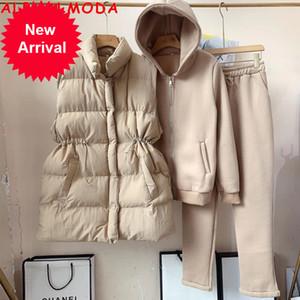 AlphalModa 2020 Neue Ankunft Gepolsterte Weste Reißverschluss Kapuzenhose Frauen Winter Warme 3 stücke Jogginghose Anzug Massivfarbe M-XL