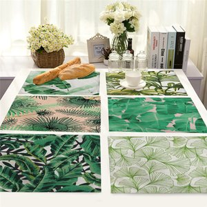 Kitchen Placemat Coaster Dining Table Mats Green Plant Pattern Cotton Linen Pad Bowl Cup Mat 42*32cm Home Decor Kitchen Accessories 02