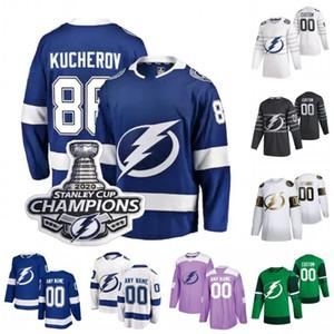 2020 Stanley Cup Champions Tampa Bay Lightning Hockey Jersey Nikita Kucherov Victor Hedman Steven Stamkos Andrei Vasilevskiy Custom Stitched