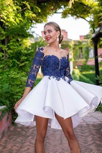 New Royal Blue Cocktail Dresses Sheer Neck Appliques Lace Long Sleeve Ruffles Mini Short Homecoming Graduation Dress Formal Dress Custom