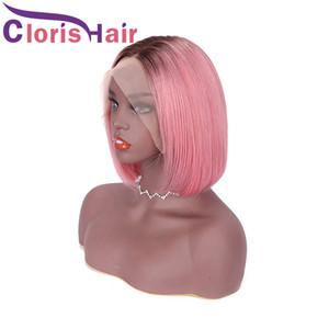 1В розовый Цветные 13x4 фронта шнурка Короткие парики Боб для чернокожих женщин 150% Pixie Cut Ombre человеческих волос Straight перуанский Remy Glueless Фронтальная парик