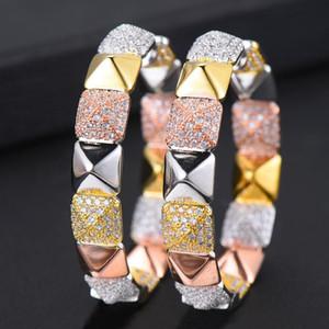 Godki 47mm Lüks Kübik Zirkon Bildirimi Büyük Hoop Küpe Kadınlar Için Düğün Dubai Gelin Kare Çember Hoop Küpe 2021