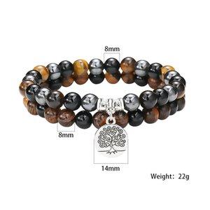 Neue 6mm 8mm Leben Natürliche Achat Frauen Armband Schwarz Perlen Tiger Eye Hämatiten Energie Perlen Stein Baum Charm Paare Fit Schmuck Bracele Acoh