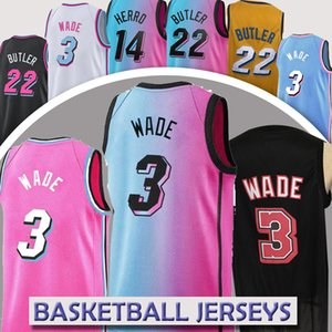 Nba jersey Miami Heat 3 Dwyane Wade 13  Edrice Adebayo basketball 14 Tyler Herro 22 Jimmy Butler basketball jerseys nba hot sell jerseys