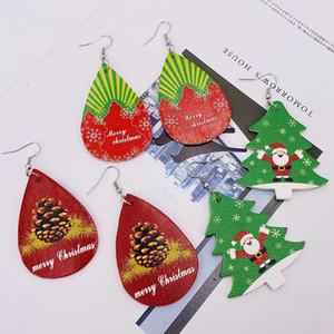 Neue Weihnachts-Ohrringe Weihnachtsbaum Glocken Weihnachtsmann Elch Leder Ohrringe Weihnachtsschmuck Party Geschenke DHA2001