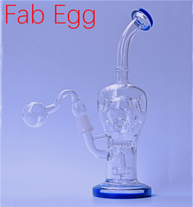 9inch Glass Bong Bubbler Fab Egg Dab Rigs Water Pipes matrix Perc 14mm Beaker Bongs Recycler Oil Rigs with glass oil burner pipe