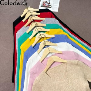 Colorfaith New 2020 Autumn Winter Women's Sweaters Pullover V-Neck Minimalist Slim Bottoming Pink Tops Solid Multi Colors SW1053