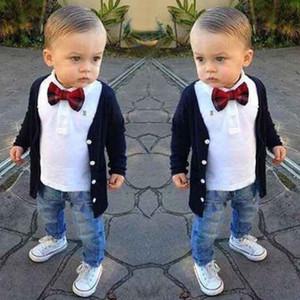 جديد الخريف ملابس الأطفال مجموعة سترة + تي شير + الجينز 3 قطع الفتيان الملابس مجموعة بدلة الطفل