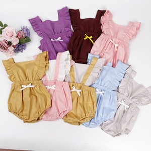 kids clothes girls Solid colors Bow romper newborn infant ruffle sleeve Jumpsuits summer Boutique baby Climbing clothes Z1619