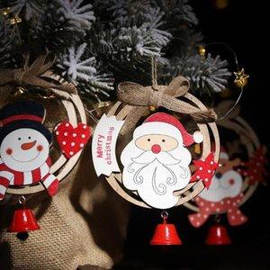 Albero di Natale Ornamento sospensione di Natale Babbo Natale del pendente campana di legno sospensione di Natale finestra Hang ornamento decorazioni natalizie OWB2883