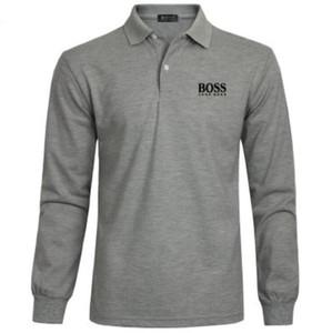 gömlek moda bahar marka Hugo Boss klasik erkek t 20SS Casual Polo Gömlek Lüks erkek% 100 pamuk sweatshirt polo gömlekleri uzun kollu tee
