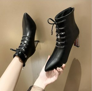 Autumn and winter new net red sexy fashion boots high-heeled plus velvet warm Martin boots pointed toe thick with short tube thin thin boots