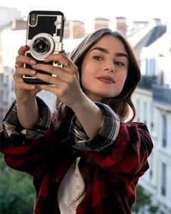 Emily Paris Luxe Mode Rétro mignon 2 dans 1 cas Caméra 3D antichocs Bracelet couverture pour Longe Samsung Galaxy Note 20 Ultra