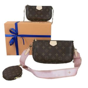Первоначально новая 3 Piece Set Top женщин из натуральной кожи сумки Кошельки сумки ключеник женщин плеча цепи кожи Luxurys Конструкторы Сумки