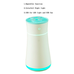 USB Humidifier, 300ml Mini Portable Humidifiers, Whisper Quiet Air Humidifier with 7-Color LED Night Light, Auto-Off, Ultra-Quiet, Suitable