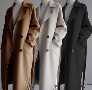 Womens Coat with Belt extra Long Winter Coat Women Wide Lapel Pocket Wool Blend Coat Oversize Long Trench Outwear Wool Women