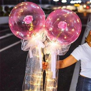 LED Luminous Balloon Rose Bouquet Transparent Bobo Ball Rose Valentines Day Gift Birthday Party Wedding Decoration Balloons HWA3059