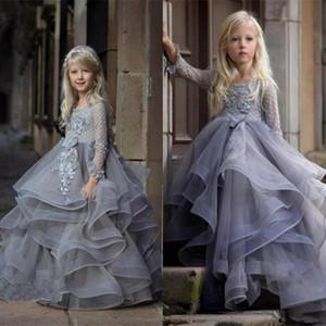 Drucken Blumenmädchenkleider Long Tail Mädchen-Festzug-Kleider wulstige kleines Mädchen Kleid Model Gehen Show Girl In Stocks
