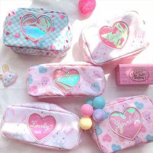 Milkjoy Rabbit Cosmetic Cases Cartoon Lovely Korea Girls Makeup Bag Laser Hologram Toiletry Bags Bentoy Jelly Heart Pencil Bags