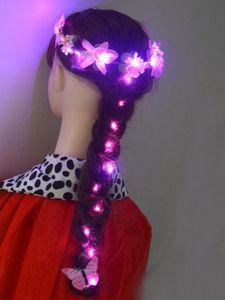 Noël DIY LED cheveux Guirlandes oreille Fleur Couronne Glowing Blinking Outils coiffants tresser tissage Braid Party Neon