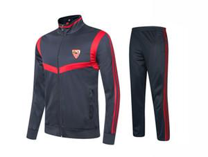20-21 Sevilla FC adultos crianças Futebol Tracksuits crianças equipe sportswear revestimento dos homens set de futebol de manga comprida