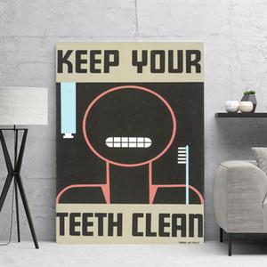 Tela di canapa di arte della parete mantenere i denti Clean decorativa domestica HD Stampato poster d'epoca pittura moderna modulare No Frame Per Soggiorno