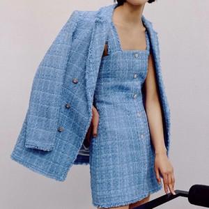 ZXQJ tweed women elegant blue blazers fashion ladies vintage loose blazer jackets casual female streetwear suits girls chic 201008