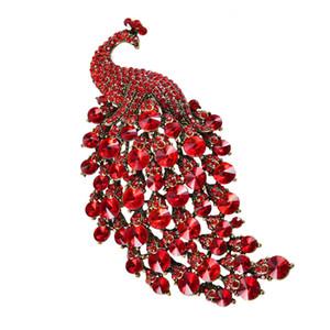 Deshow Peacock Brooches coloré strass pour les femmes Grand Oiseau Broche Vintage Accessoires de mode de haute qualité Ne 201009